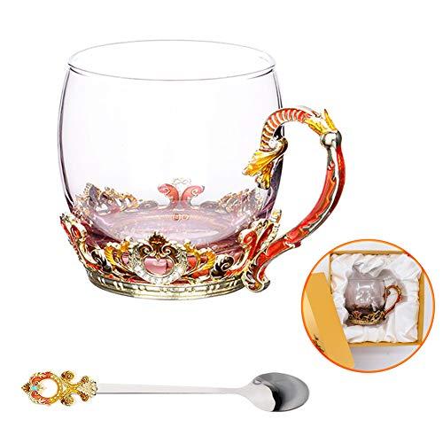 Glass Tea Cup Coffee Mug Hand Blown Glass Drinking Mug Made of Lead-free Glass Vintage Glass Cups with Spoon Set Birthday Decoration Wedding Gift Ideas Orange Short