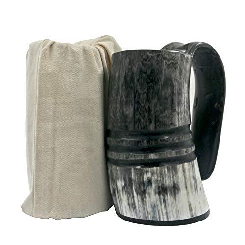 Ox Horn Mug-Natural Buffalo Horn Viking Drinking Mug Viking Mug Cup With Ring carving