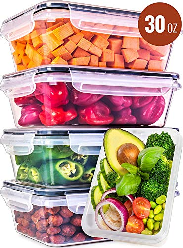 Food Storage Containers with Lids - Food Containers with Lids Plastic Containers with Lids 5 Pack 30 Ounce - Leak Proof Lunch Containers Plastic Storage Containers with Lids - Meal Prep Containers