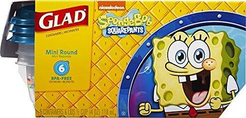 Sponge Bob Square Pants Glad Mini Round Snack Size Lunch Box Kids Fun Storage Containers 6 - Six BPA - Free 12 Cup 4 oz