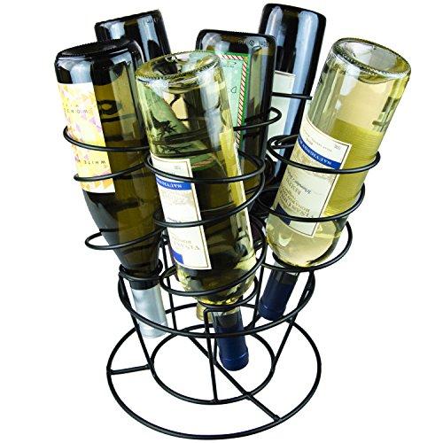 Black Metal Corkscrew Design 6 Bottle Bouquet Wine Rack Tabletop Wine Display Holder
