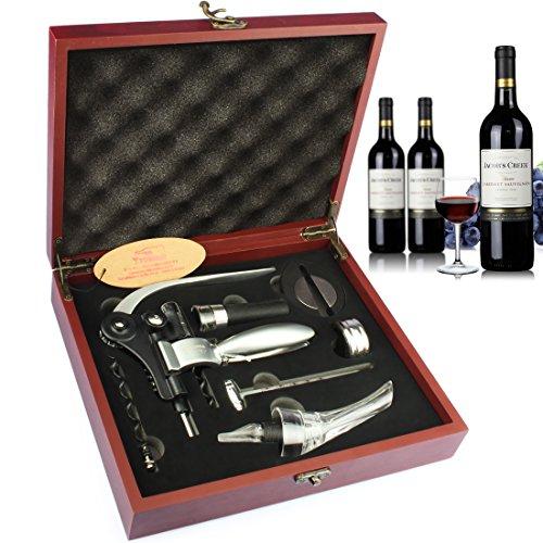 YOBANS Wooden Box Wine Accessories Gift Set Wine Opener SetWine Stopper Aerator Pourer SetRabbit Wine Opener Corkscrew Gift Set Red03