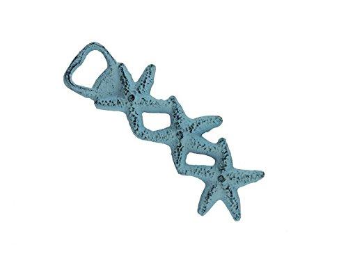 Dark Blue Whitewashed Cast Iron Starfish Bottle Opener 7 - Iron Bottle Opener