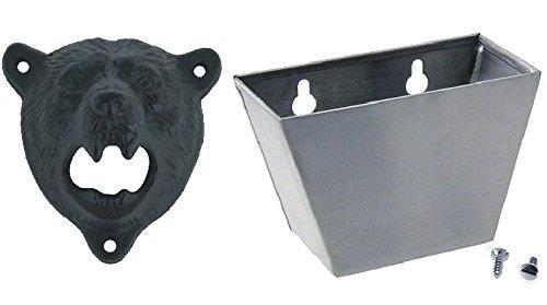 Tozz Pro  Cast Iron Wall Mount Grizzly Bear Teeth Bite Bottle Opener Black opener  cap catcher