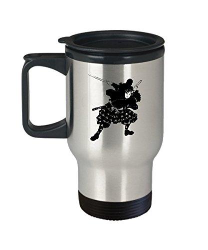 Samurai Coffee Mug - Martial Art Gifts -14 Oz Stainless Steel Travel Coffee Cup
