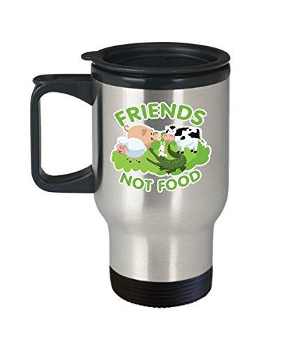 Veggie Mug - Friends Not Food - Vegan Novelty Gifts -14 Oz Stainless Steel Travel Coffee Cup