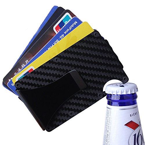 Novadeal Mini Slim Carbon Fiber Money Clip Wallet Metal Aluminum Design Credit Card ID Holder with RFID Blocking Bottle Opener
