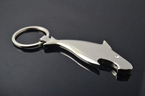 1 Pcs Garnished Unique Keychain Frames Mini Pocket Shark Bottle Opener Classic Design 3D Gift Multiple Tool Utility Accessories Strap Wrist Holder Finder Men Women Teen Teenagers Girls Color Silver