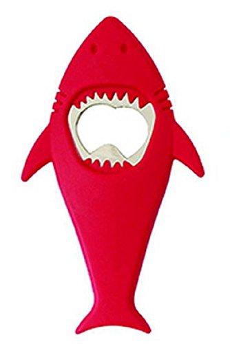 Whimsical Shark Beer Bottle Opener - Choose Gray Red or Blue Red