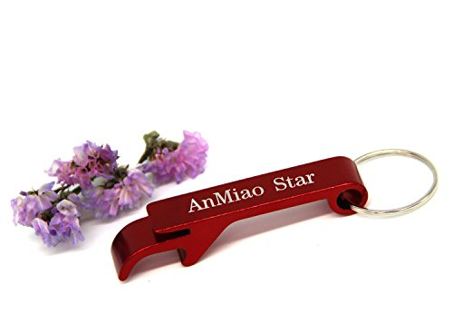 AnMiao Star 3pcs Red Key Chain Metal Beer Bottle Opener Pocket Small Bar Claw Beverage Keychain Ring(Red