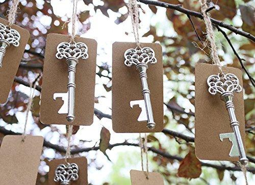 50pcs Wedding Favors Silver Skeleton Key Bottle Opener with brown Escort Tag Card