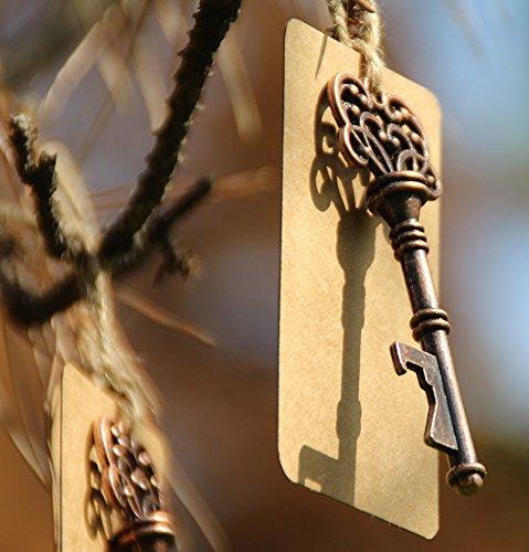 50pcs Wedding Favors Skeleton Key Bottle Opener with Escort Tag Card