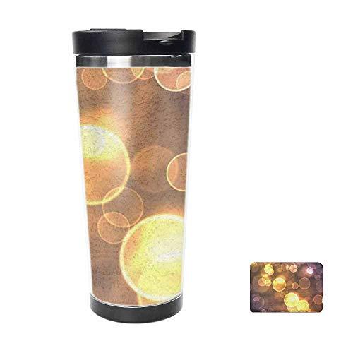 Golden Light Spot Travel Mug for Coffee Tea,Drinking Cup Coffee Mug,Thermos Cup 16oz