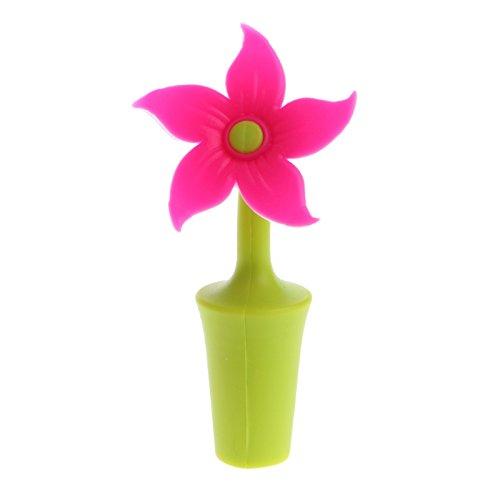 Techinal 6Pcs Wine Bottle Stopper Decorative Cute Bauhinia Flower Silicone Wine Stopper
