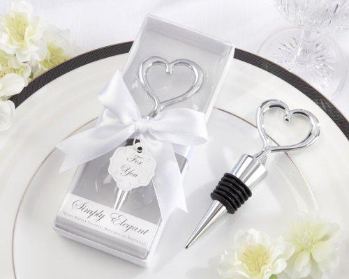 iSimply Eleganti Chrome Heart Bottle Stopper -48 count