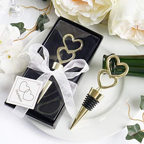 Efavormart Gold Metal Double Heart Wine Bottle Stopper Wedding Favor With Velvet Gift Box - Lot of 25
