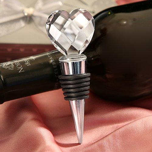 Elegant Chrome Bottle Stopper with crystal heart design Wedding Favors 12