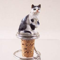 Conversation Concepts Black White Shorthaired Tabby Cat Bottle Stopper Set of 6