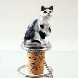 Tabby Cat Bottle Stopper Black White