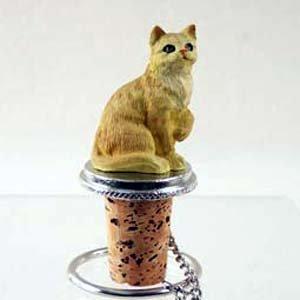 Tabby Cat Bottle Stopper Red