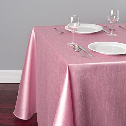 LinenTablecloth Rectangular Shantung Silk Tablecloth 90 x 132 Pink