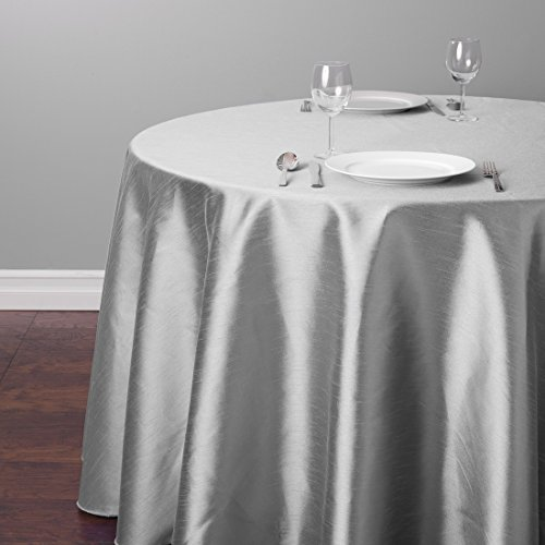 LinenTablecloth Round Shantung Silk Tablecloth 118 Silver