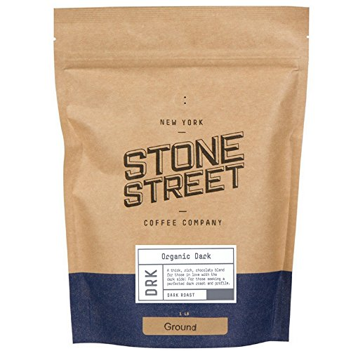 DARK ROAST ORGANIC GROUND COFFEE  1 LB Resealable Bag  Fair Trade Rain Forest RFA Certified  Full-Body Bold Rich Taste 100 Arabica Origin