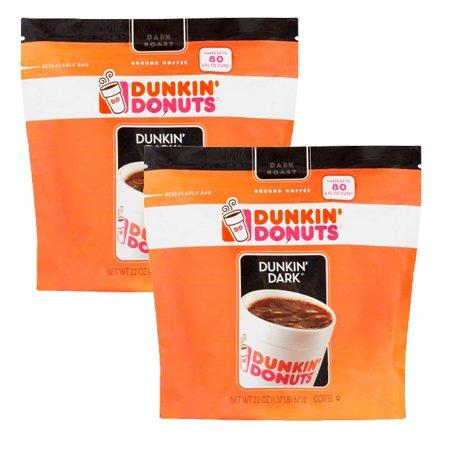 Dunkin Donuts 22 oz premium Arabica Coffee Beans Dark Ground Coffee 2 Pack