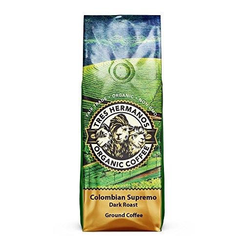 Tres Hermanos Fairtrade Low-Acid Organic Coffee Colombian Supremo Dark Ground Coffee 2 lb