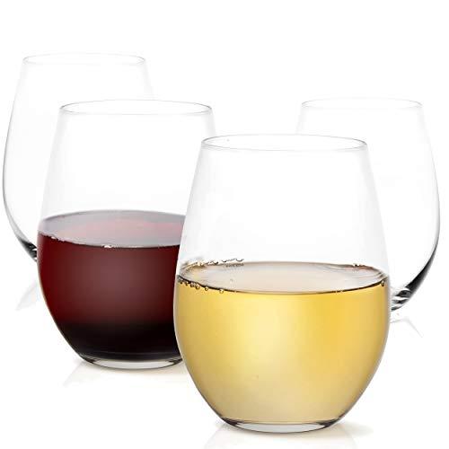 JoyJolt Spirits Stemless Wine Glasses for Red or White Wine Set of 4-15-Ounces