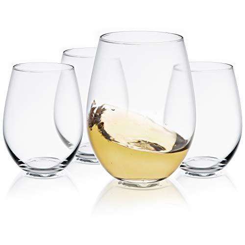 JoyJolt Spirits Stemless Wine Glasses for Red or White Wine Set of 4-19-Ounces