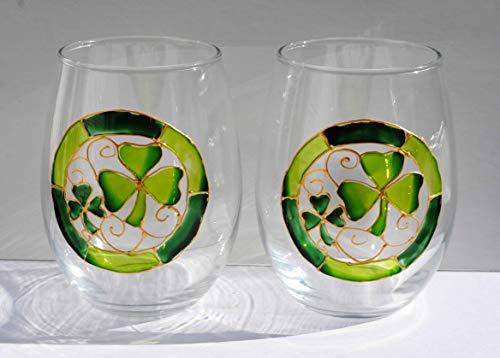 2 Lucky Shamrocks Hand Painted Stemless Wine Glasses Set