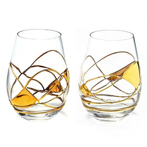 ANTONI BARCELONA Stemless Wine Glasses Set of 2 21 Oz - Handblown Handmade Painted Gold Wine Glass Gifts for Women Birthdays Anniversaries and Weddings 2 GOLD