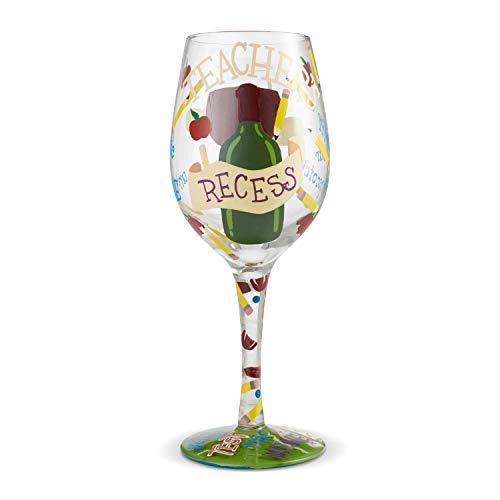 Enesco 6004356 Designs by Lolita Teachers Recess Hand-Painted Artisan Wine Glass 15 Ounce Multicolor
