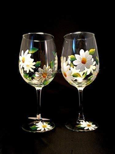 Hand Painted White Daisy Flower Set of 2 Stemless Wine Glass Gift for her Daisy Flower Stemmed wine glasses Wine Glass 15 oz
