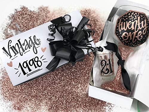 Hand Painted Wine Glass Shot Gift Box Set - 21 Rose Gold Black Confetti Glitter Personalized Vintage 1998 - twenty one