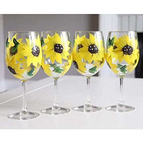 Sunflower Gift Idea  Sunflower Wine Glasses Set Of 4  Hand Painted Wine Glasses Sunflower Wedding Favors Choose a Set of 4 stemless or a Set of 4 stemmed wine glasses