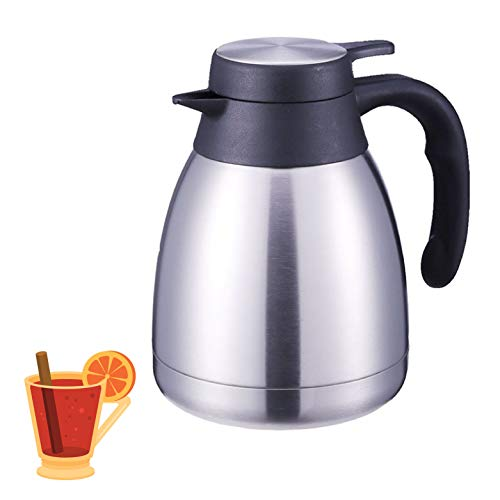 Stainless Steel Thermal Coffee Carafe - Double Walled Vacuum Thermos  24 Hour Heat Retention  1 2 Liter Tea Water and Coffee Dispenser Silver 34 oz