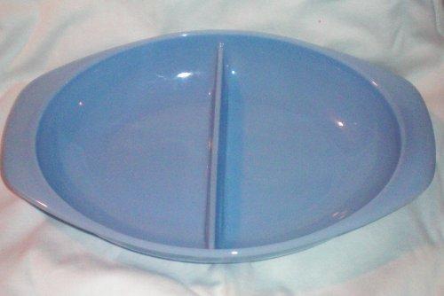 Vintage Pyrex 1 12 Quart Delphite Blue Divided Casserole Baking Dish