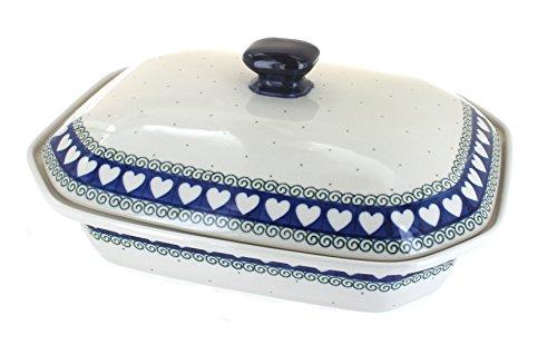 Polish Pottery Cupid Large Covered Baking Dish