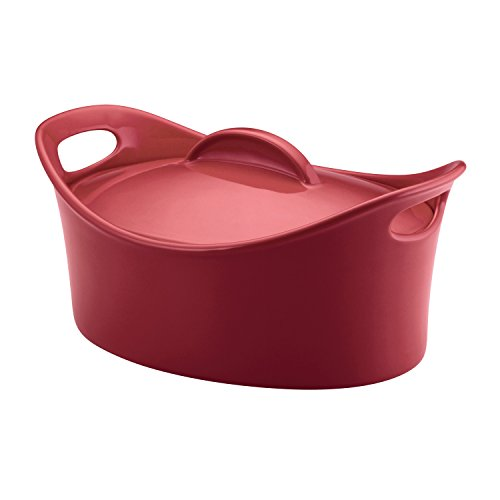 Rachael Ray Stoneware 425-Quart Casseroval Covered Baking Dish Red