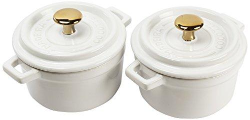 Madeira by Architec Mini Cocotte Baking Dishes Set of 2  White Ceramic 5 Quart Each