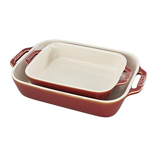 Staub 40511-923 2 Piece Ceramic Rectangular Baking Dish Set Rustic Red