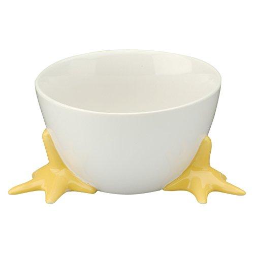 BIA Cordon Bleu Bowl with Chicken Feet -- White Stoneware Ceramic Bowl with Feet 19 Oz Easter Candy Dish Chicken Kitchen Decor