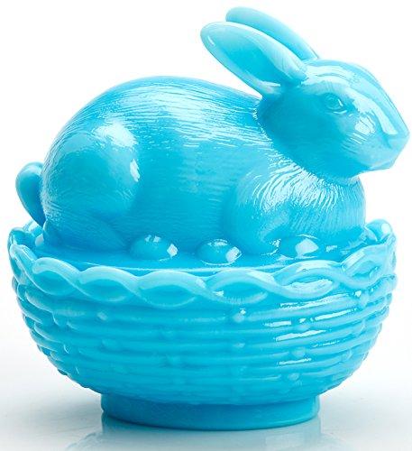 Glass Easter Bunny Rabbit on Covered Dish Mosser Glass Robin Egg Blue