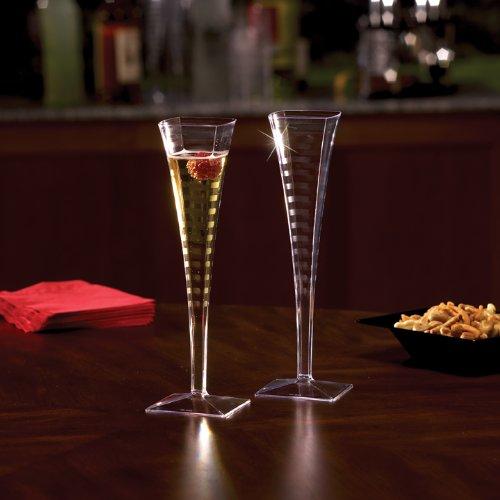 72 Elegant Square Champagne Flutes Hard Plastic Wine Glasses Toasting Wedding Cups 5oz