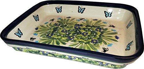 Evas CollectionBlue Sky Meadow Polish Pottery Unikat Large Oval Baker Dish