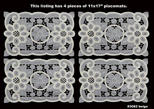 4PCS Battenburg Lace with Sheer Sunflower Floral Cutwork Placemat 11x17 Ecru Beige Set of 4 Pieces