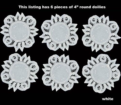 6PCS 4 Round Battenburg Lace Doily WHITE 100 Cotton Hand Embroidery Set of 6 Pieces