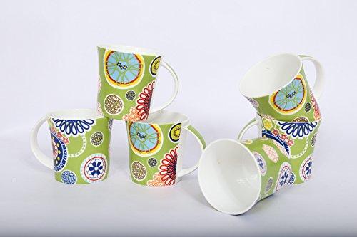 Clay Craft Jackson 6677 Bone China Coffee Mug Set 150ml6cm Set of 6 Multicolour